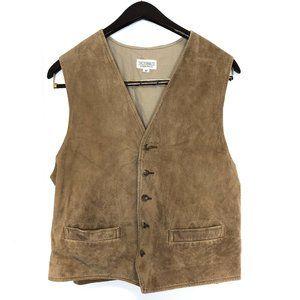J. Peterman Co brown suede leather vest 5 button M